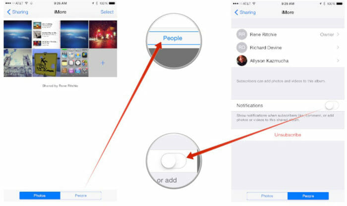 Disable Notifications from shared photo stream2