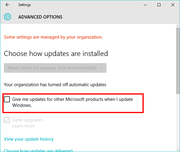 Disable Office 2016 Automatic Update using built in option