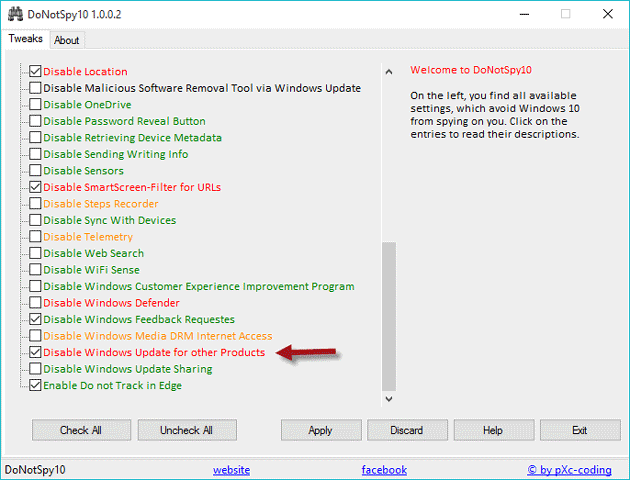 Disable Office 2016 update using DoNotSpy