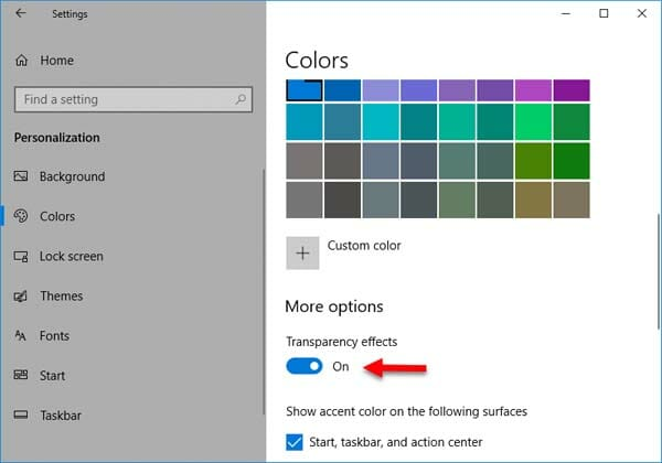 Disable Transparency effect in Windows 10