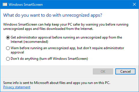 Disable Windows SmartScreen settings on windows