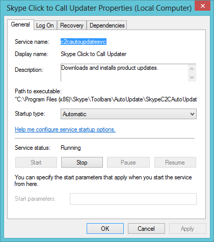 Disabling Skype Click To Call Updater Service
