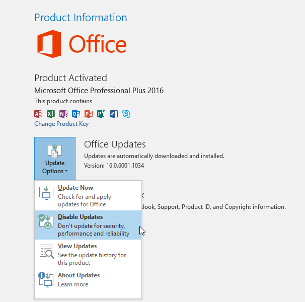 Disbale Office 2016 Update
