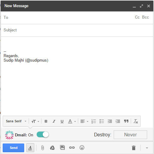 Dmail set up in Gmail