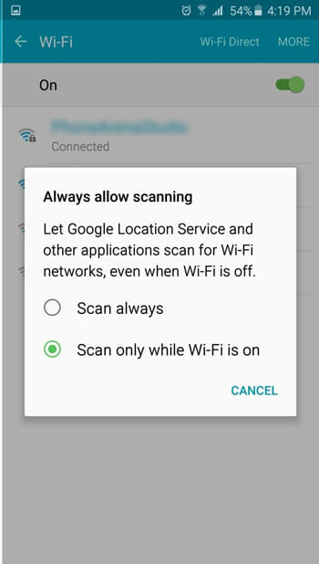 Do No Always Scan For Wi-Fi in Samsung Galaxy Note 5