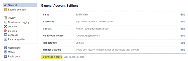 Download profile data from Facebook