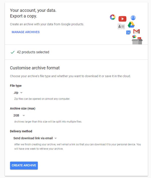 Download profile data from Google using Google Takeout