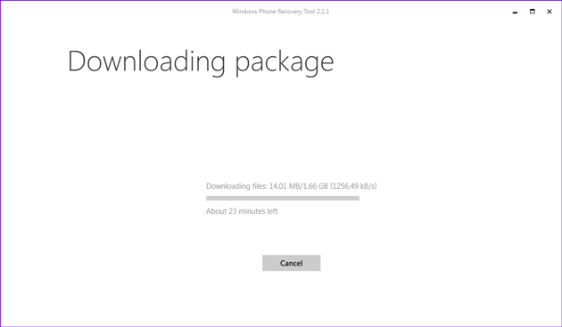 Downloading Windows phone software package