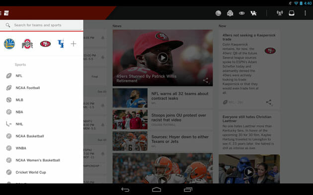 ESPN app for Android