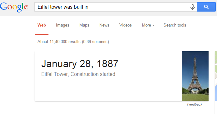 Eiffel tower was built in