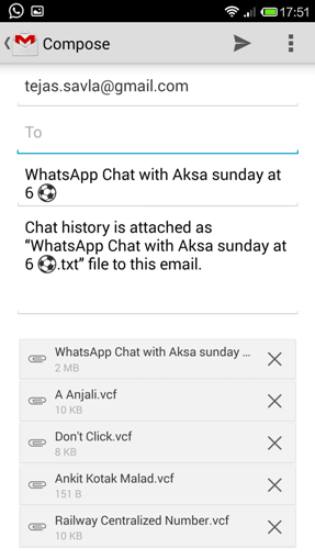 Email Transfer for WhatsApp Chat