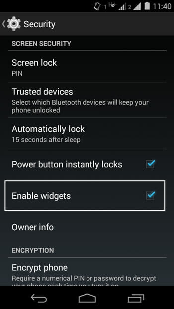 Enable Android lock screen widgets