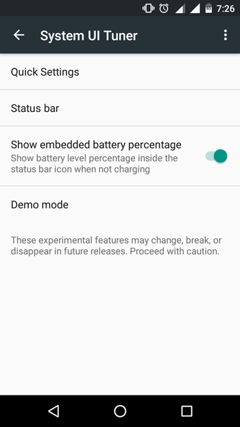 Enable Battery Percentage on Android Marshmallow