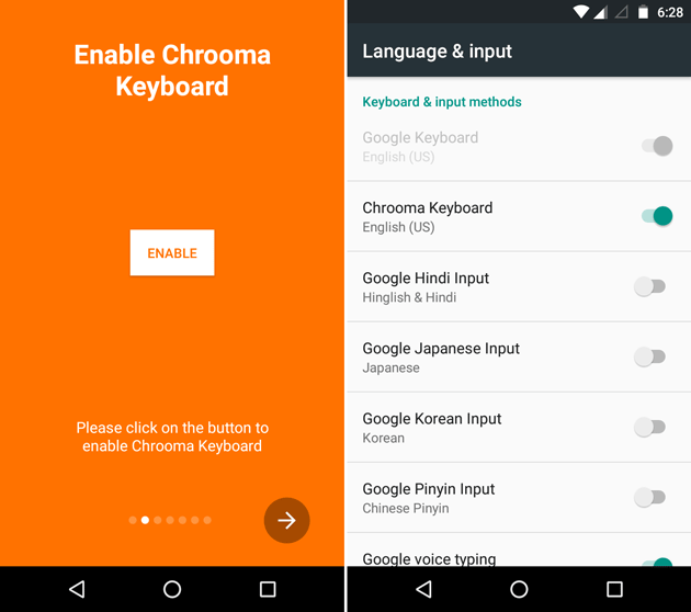 Enable Chrooma keyboard in Android