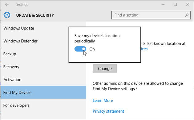 Enable Find my device in Windows 10