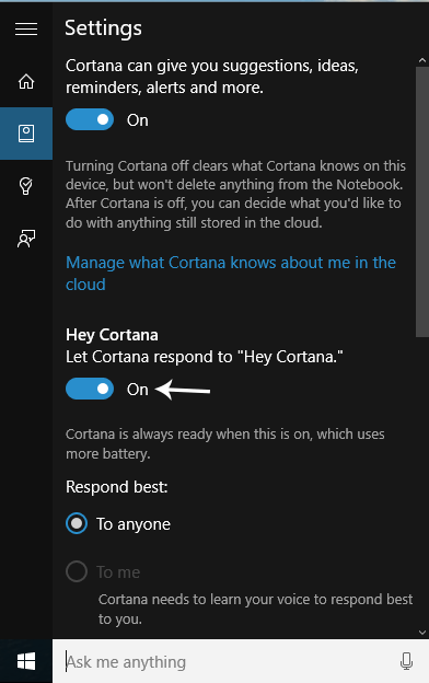 Enable Hey Cortana in Windows 10