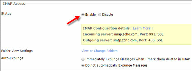 Enable IMAP in Zoho Mail