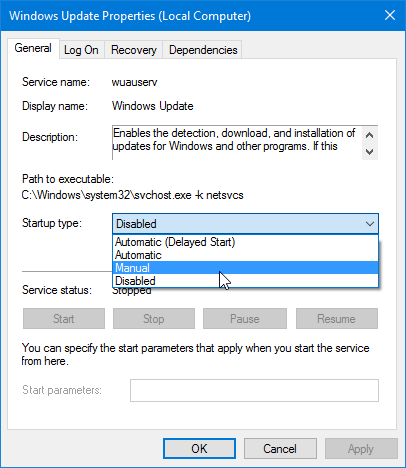 Enable Windows Update using Services