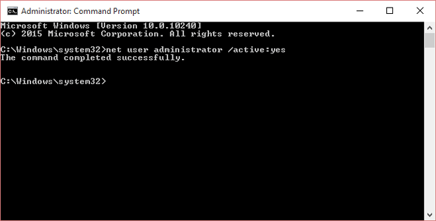 Enable administrator account using using command prompt
