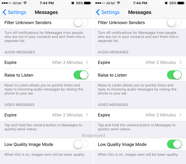 Enable Low Quality Image Mode in iMessage on iOS 10