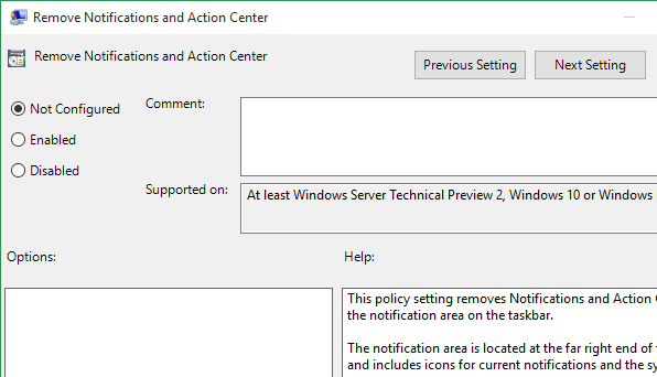 Enable option to remove action center