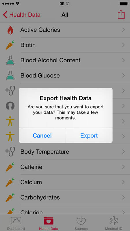 Export-health-data-in-iOS-9