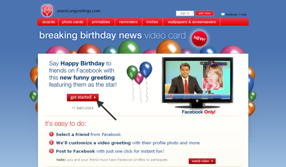 Facebook Birthday Video Card Interface