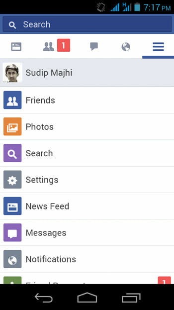 Facebook-Lite-Menu