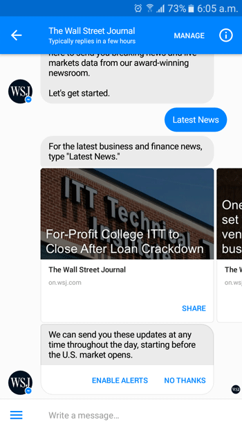Facebook Messenger Bot running