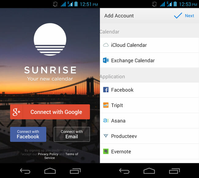 Facebook and Third Party App Integration in Sunrise Calendar