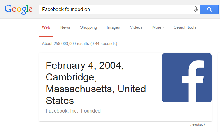 Facebook founded on