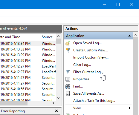 Filter current log in event viewer
