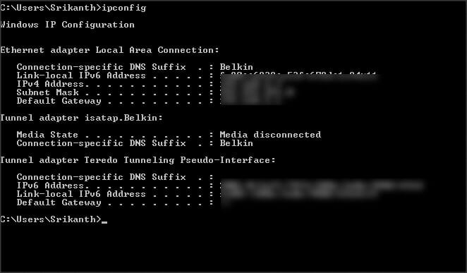 Find IP Address of your computer from Command Prompt