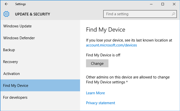Find my device in Windows 10