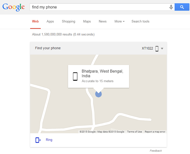 Find my phone command on Google Search