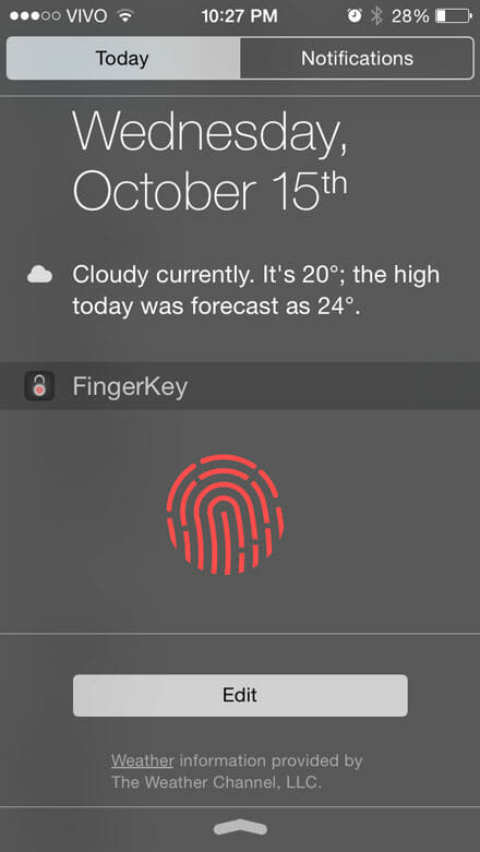 FingerKey on iOS Widget
