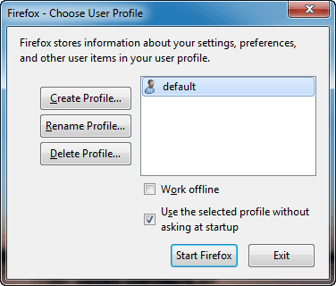 Firefox Profile Management window