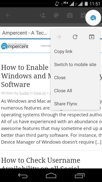 Flynx Web Browser options