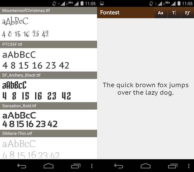 Fontest app for android
