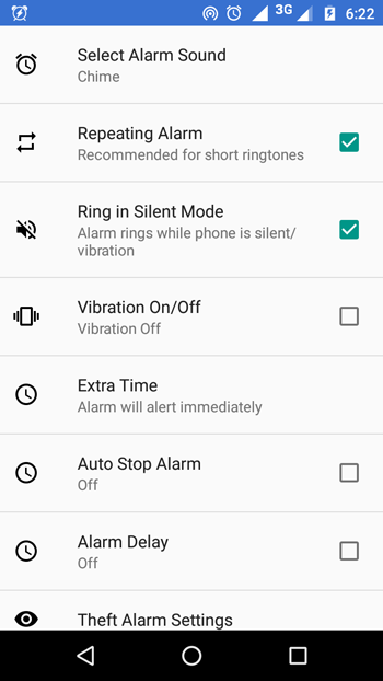 Full Battery & Theft Alarm settings