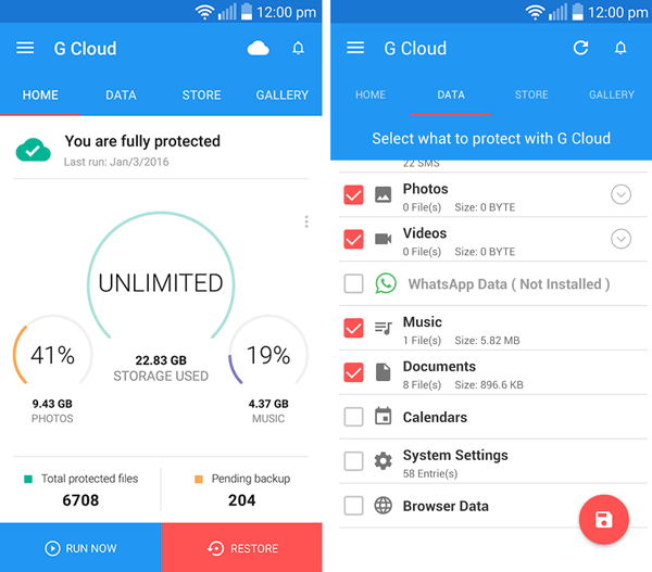 G-cloud Free Backup Best Free Android Apps to Backup Data