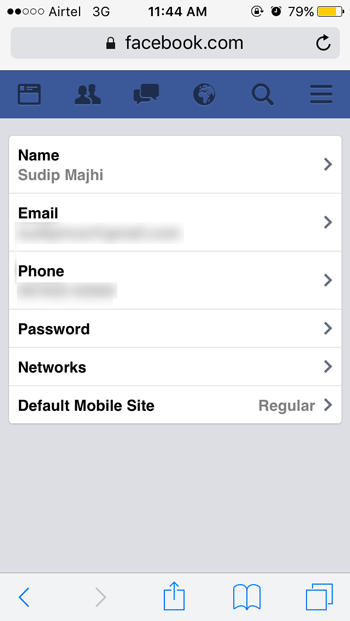 General account settings in Facebook