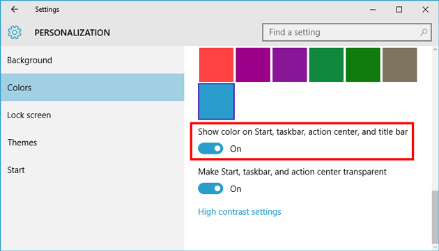 Get Colored Title Bar in Windows 10