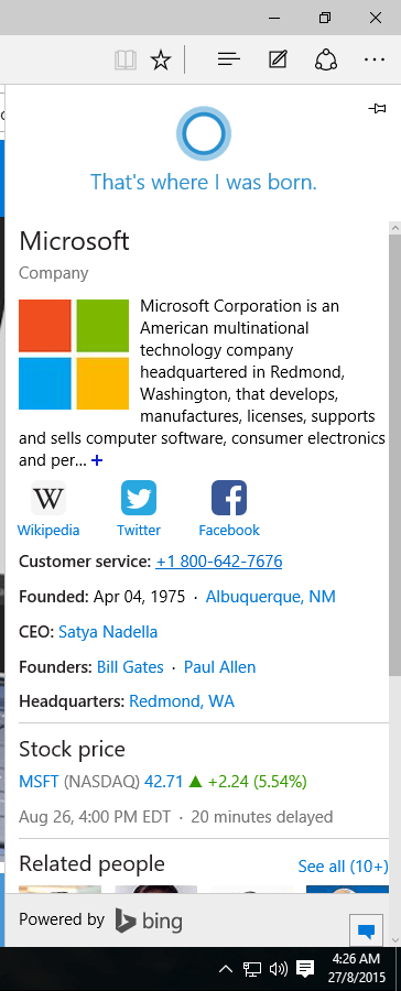 Get Information in Cortana from Microsoft Edge