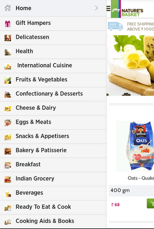 Godrej Natures Basket App Menu
