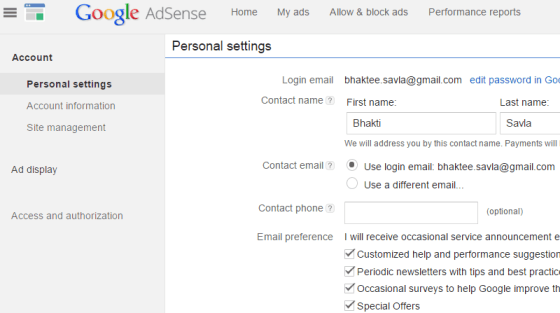 Google Adsense Account Settings