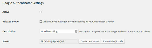 Google Authenticator for WordPress settings