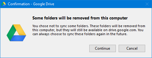Google Drive folder removal message