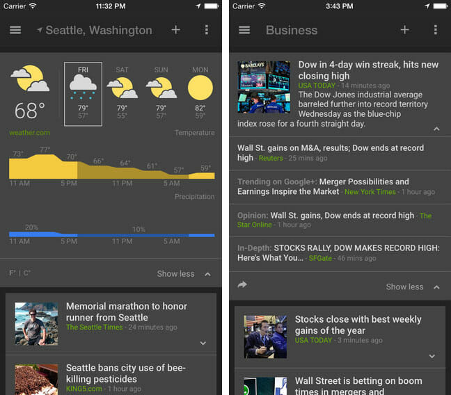 Google News and Weather App for iOS