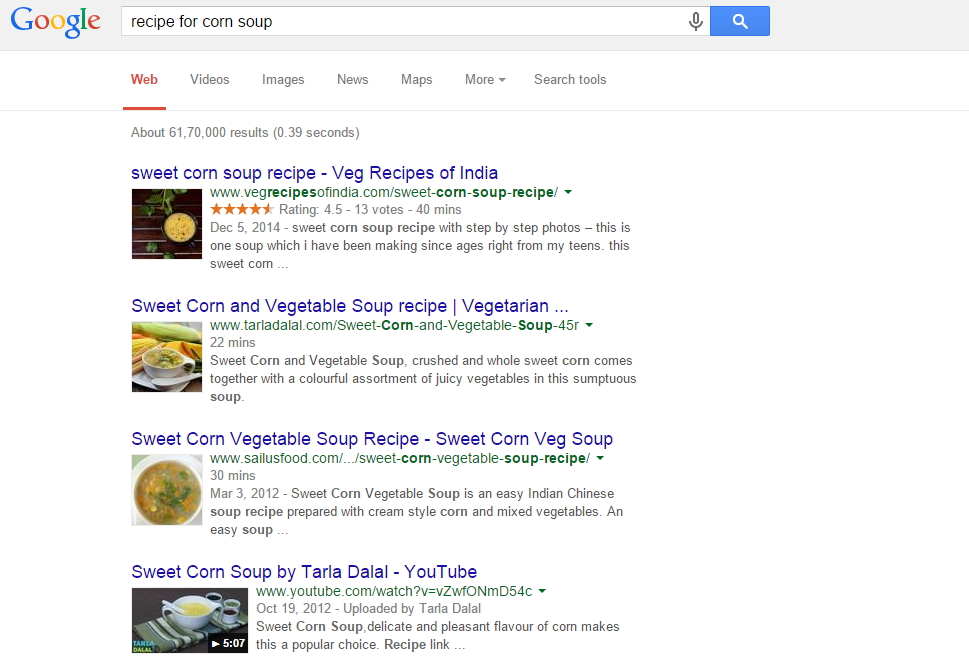 Google corn recipe search